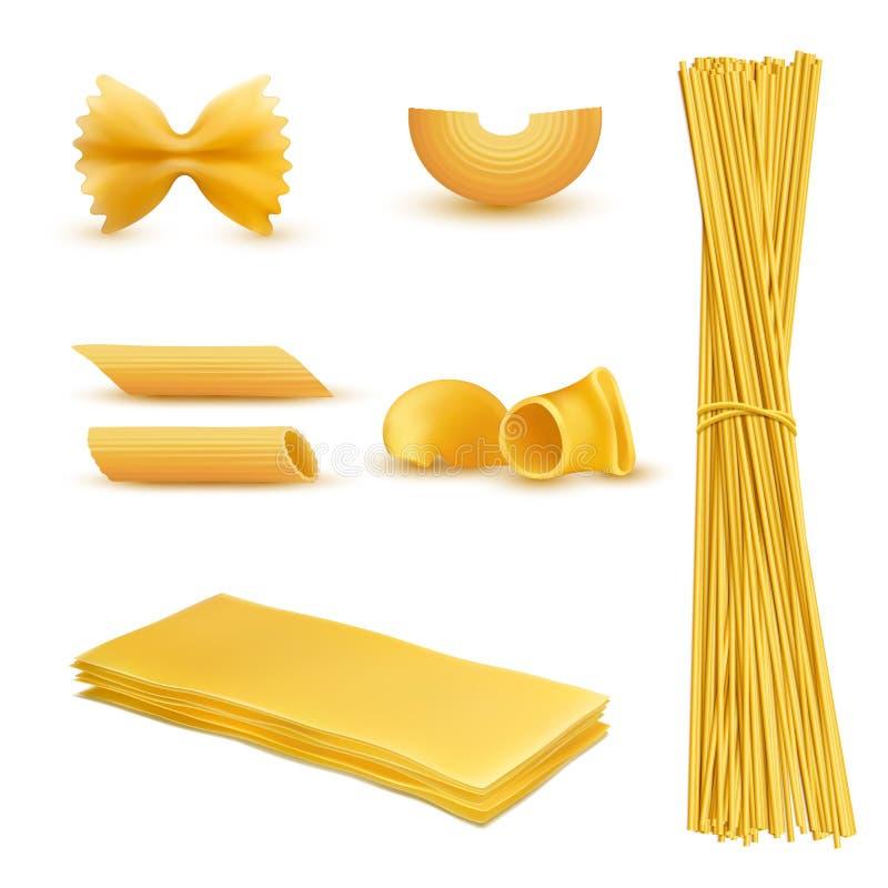 Vector l'insieme realistico di maccheroni, pasta italiana illustrazione di stock