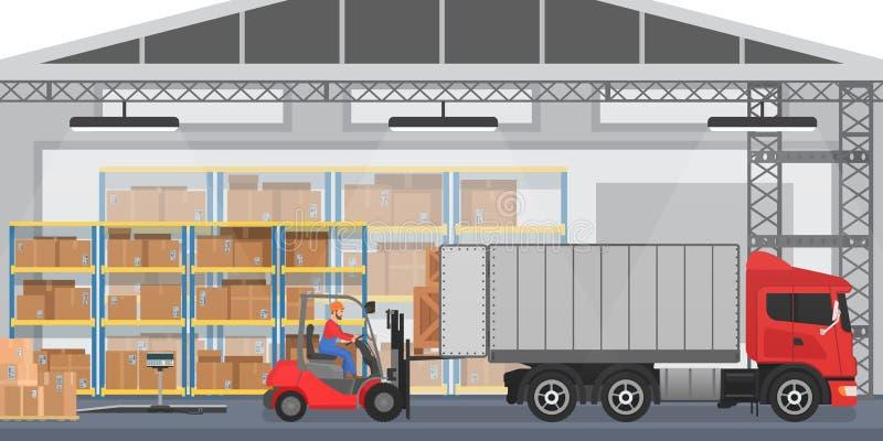 Vector l'interno del magazzino con i lavoratori che sistemano le scatole delle merci in un camion Camion interno moderno del cari illustrazione vettoriale