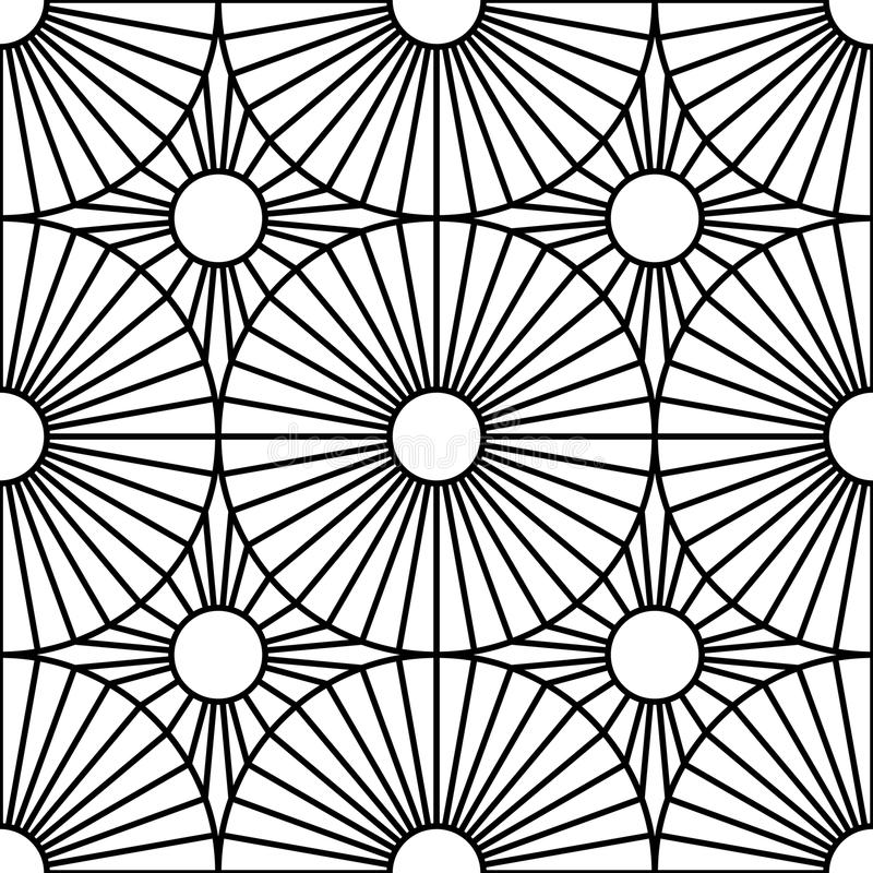 Vector l'obiettivo senza cuciture moderno del modello della geometria, estratto in bianco e nero illustrazione vettoriale