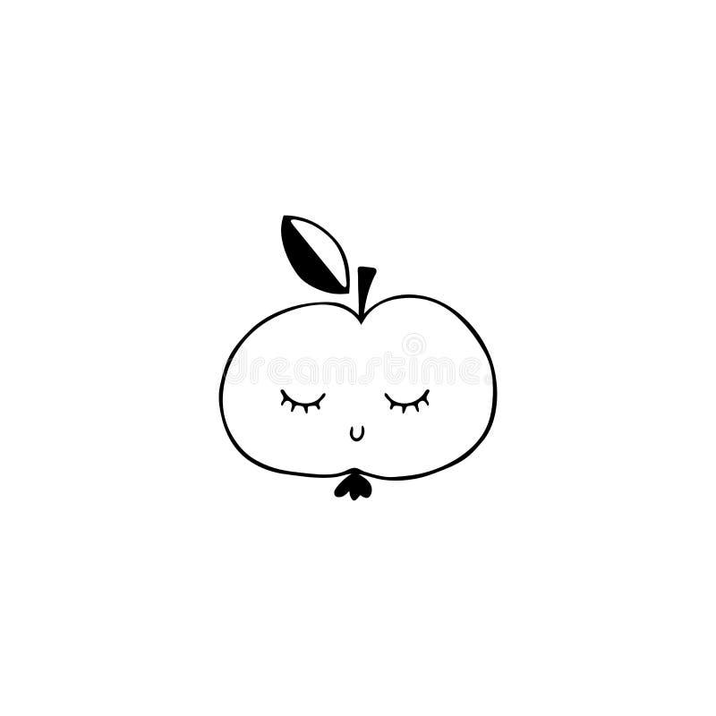 Vector l'oggetto disegnato a mano, mela sveglia con gli occhi chiusi illustrazione vettoriale