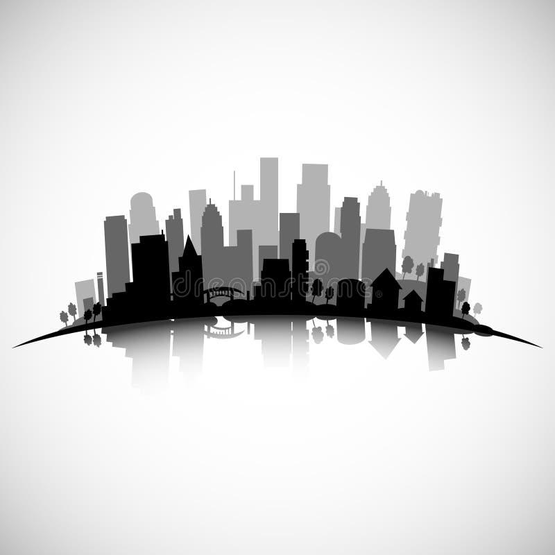 Vector l'orizzonte della città con i grattacieli, le costruzioni, gli alberi ed i ponti illustrazione di stock