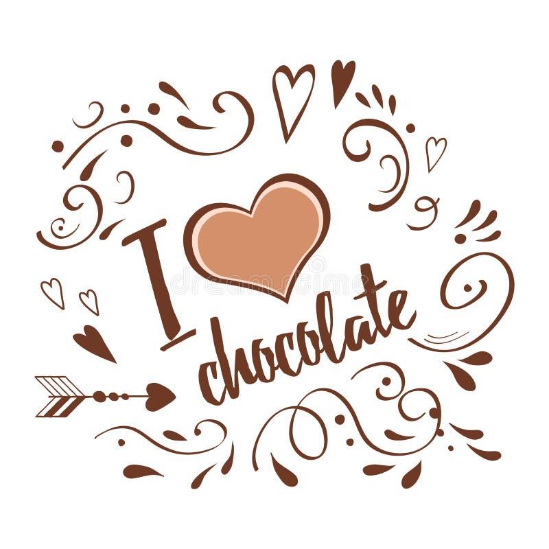 Vector l'ornamento disegnato a mano astratto decorato cioccolato tipografico di amore dell'insegna I sui colori marroni del choca royalty illustrazione gratis