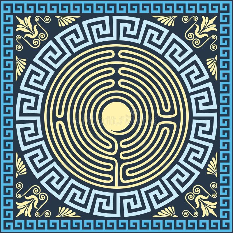 Vector l'oro d'annata tradizionale e l'ornamento greco blu (meandro illustrazione vettoriale