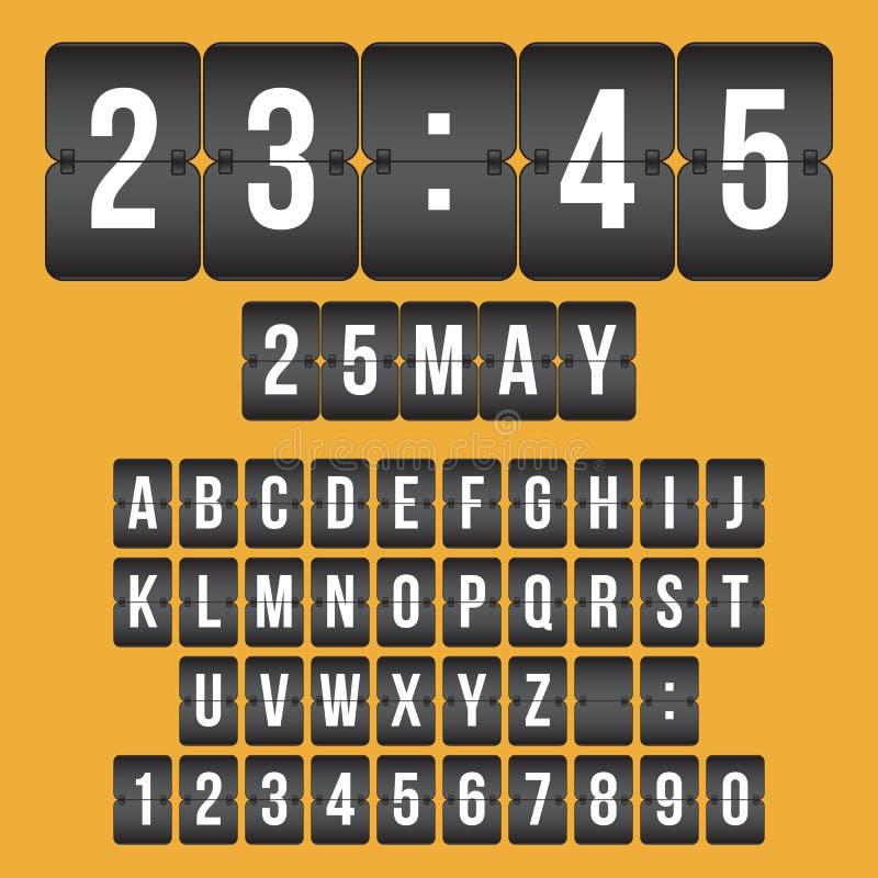 Vector l'orologio del tabellone segnapunti, i numeri in bianco e nero di vibrazione e il alphab royalty illustrazione gratis