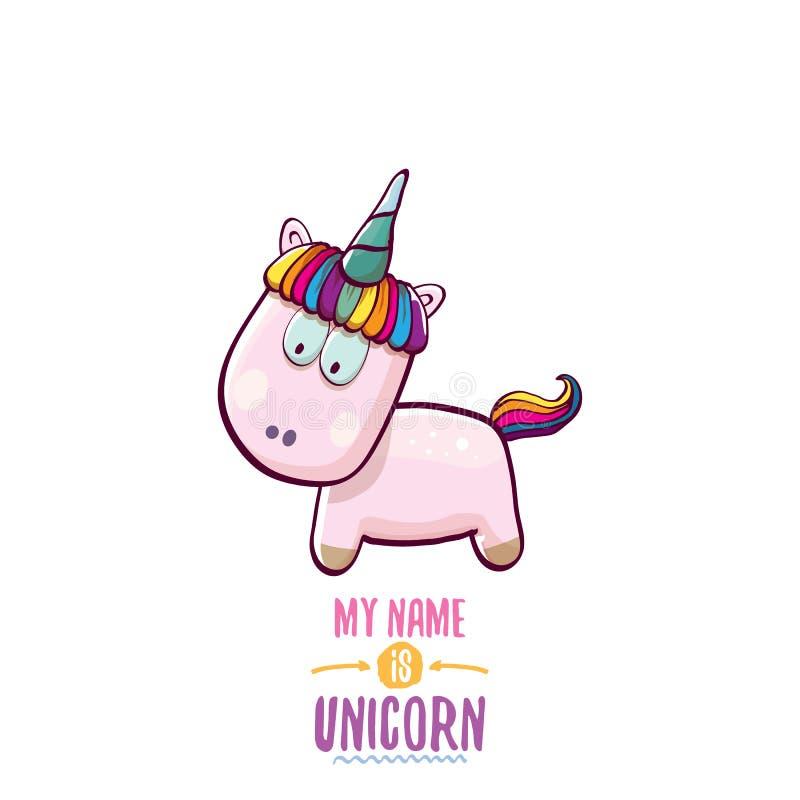 Vector l'unicorno leggiadramente rosa sveglio del fumetto divertente isolato su fondo bianco Il mio nome è concetto di vettore de illustrazione di stock