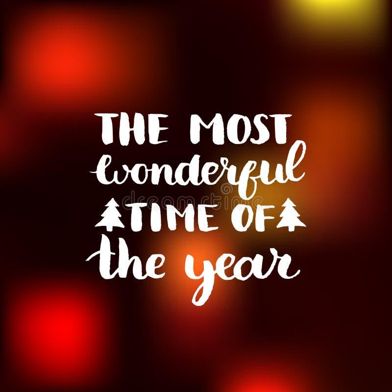 Vector la época más maravillosa del diseño de letras del año en fondo borroso Tipografía de la Navidad o del Año Nuevo stock de ilustración