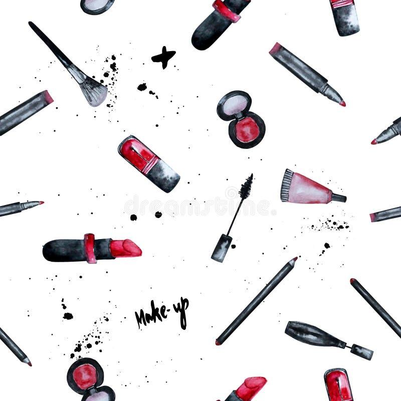 Vector la acuarela atractiva componen el fondo inconsútil con el esmalte de uñas y el lápiz labial Diseño creativo para la tarjet stock de ilustración
