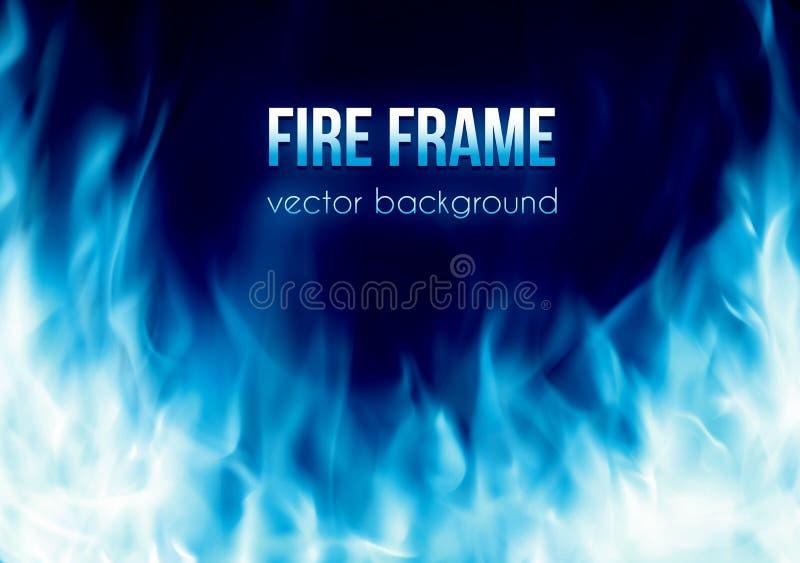 Vector la bandera con el marco ardiente del fuego del color azul stock de ilustración