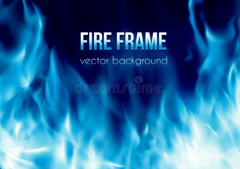Vector la bandera con el marco ardiente del fuego del color azul ilustración del vector