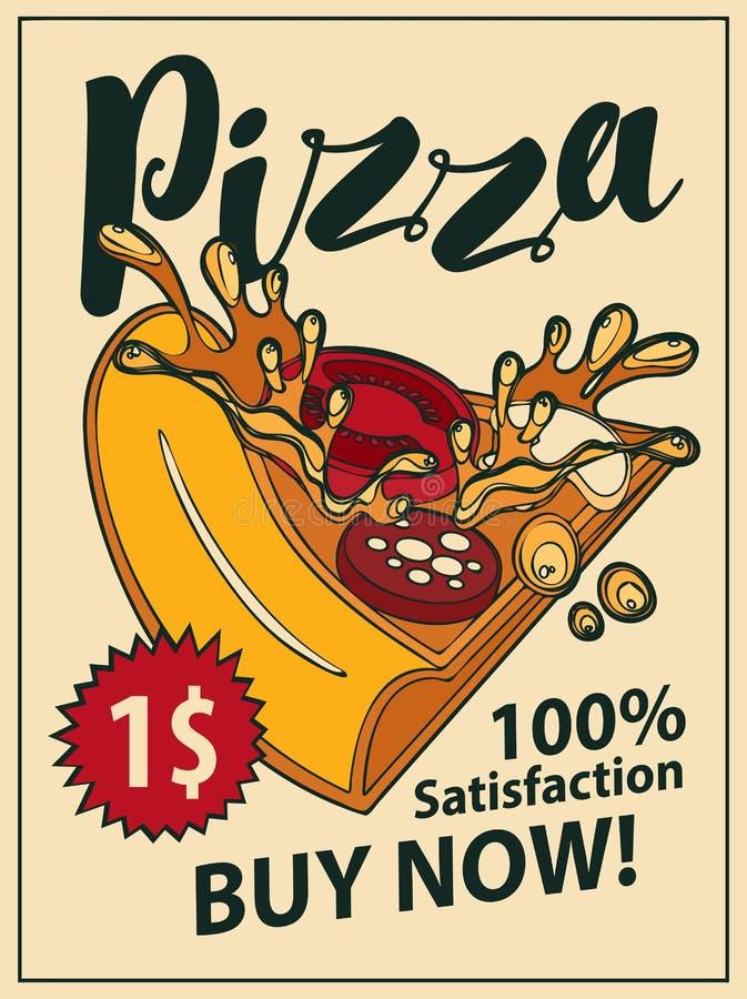 Vector la bandera con la rebanada de pizza en estilo retro libre illustration