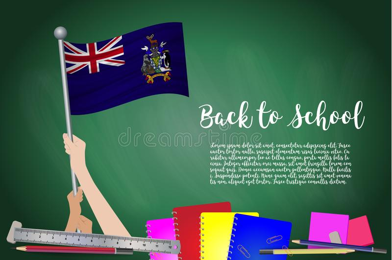 Vector la bandera de Georgia del sur en fondo negro de la pizarra edu stock de ilustración