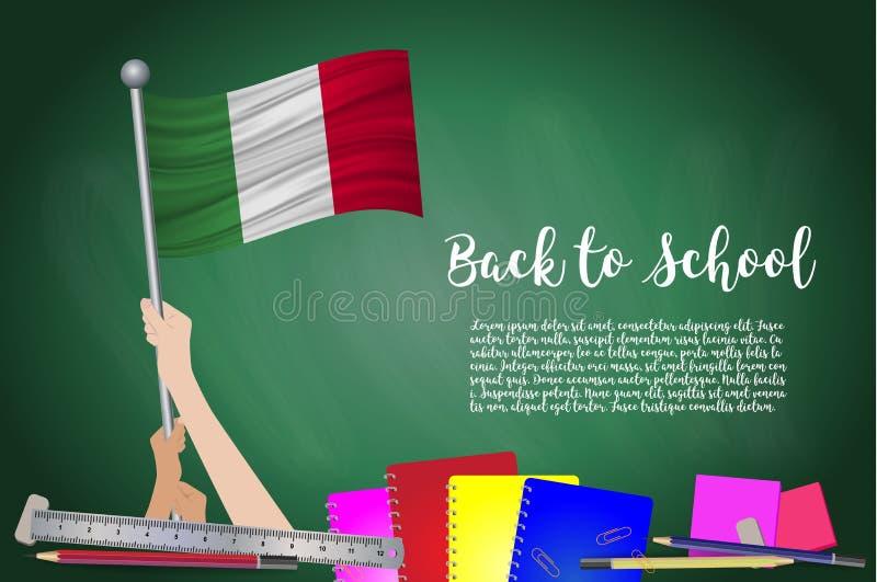 Vector la bandera de Italia en fondo negro de la pizarra Educación B ilustración del vector