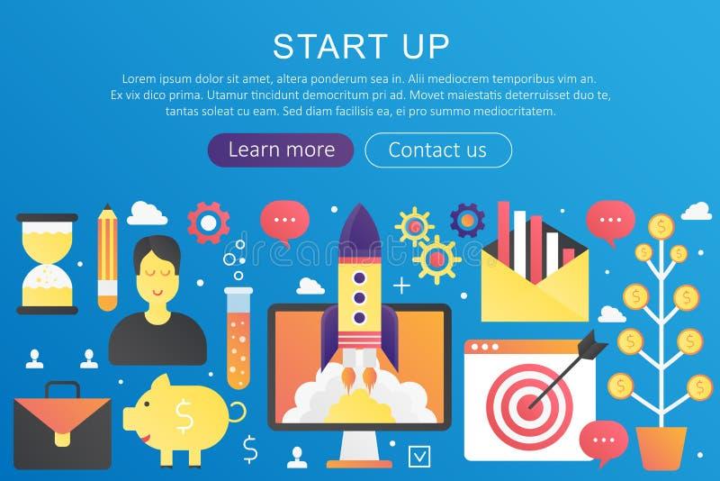 Vector la bandera de lanzamiento de la plantilla del concepto del negocio del color plano de moda de la pendiente con los iconos  libre illustration