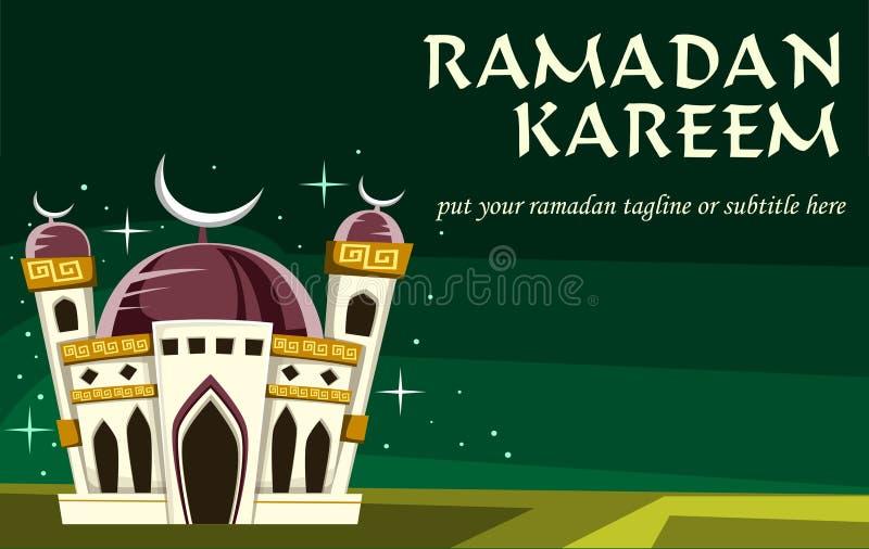Vector la bandera del kareem del Ramadán de la historieta con el texto y el tagline libre illustration