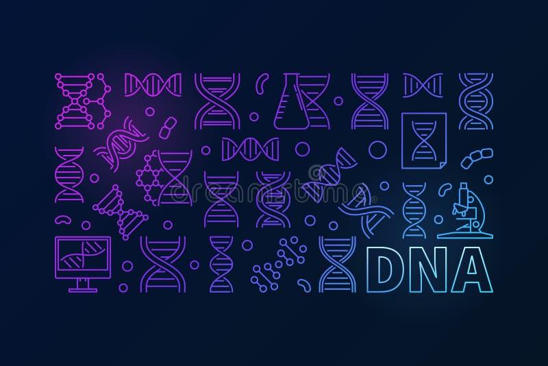 Vector la bandera horizontal colorida de la DNA o el ejemplo linear stock de ilustración