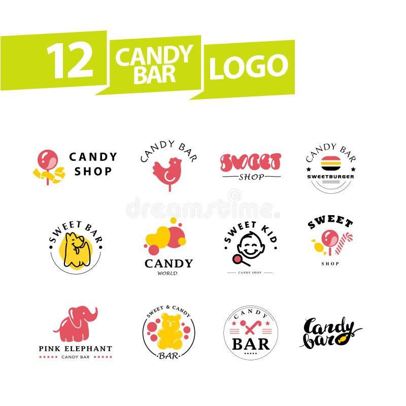 Vector la barra di caramella piana e la progettazione dolce di logo del negozio illustrazione di stock