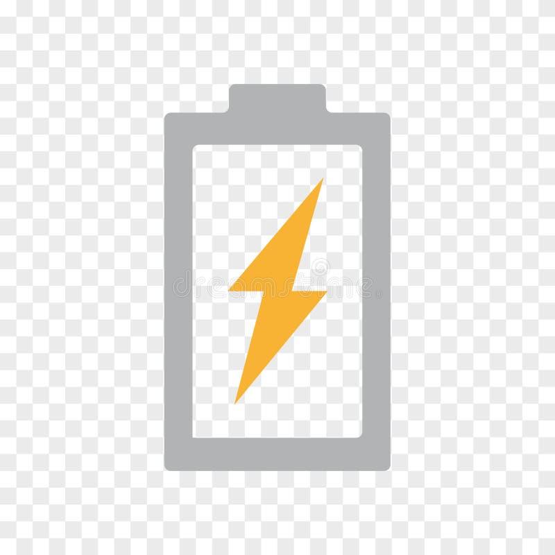 Vector la batería del poder, energía, icono del rayo Truene, símbolo y ejemplo de destello de la muestra en fondo transparente stock de ilustración