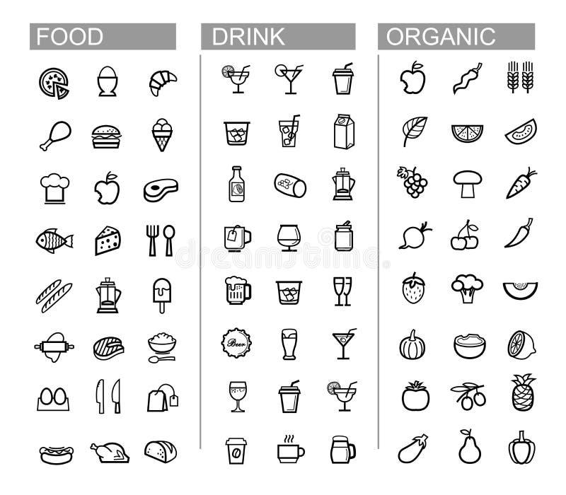 Vector la bebida negra, comida, iconos de la cocina fijados libre illustration
