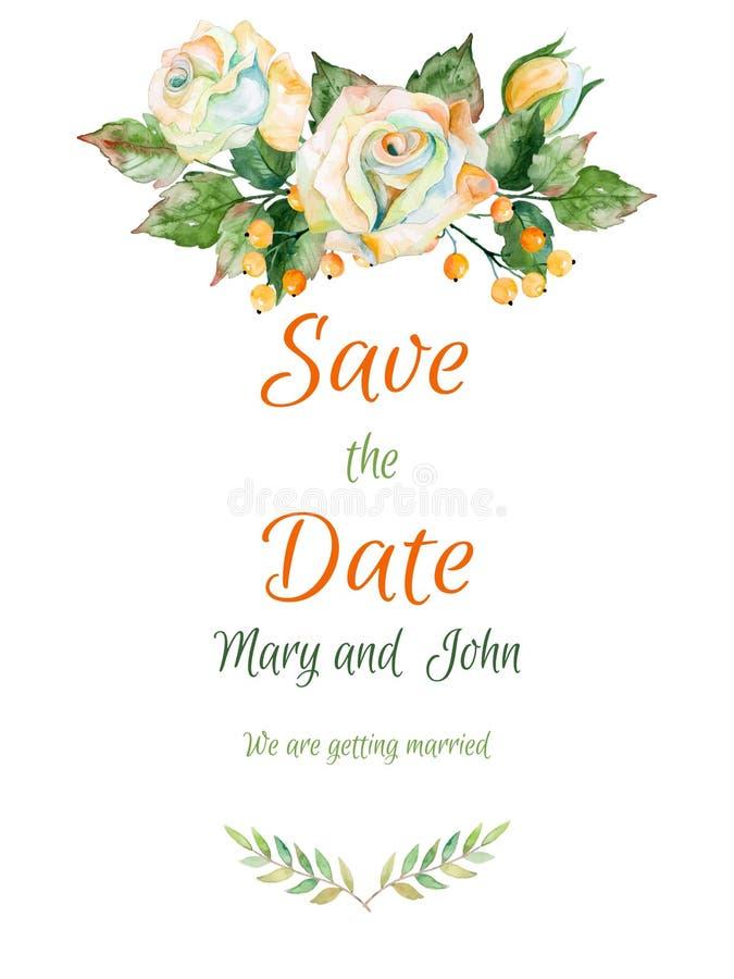 Vector la bella partecipazione di nozze della rosa e di altra di bianco royalty illustrazione gratis