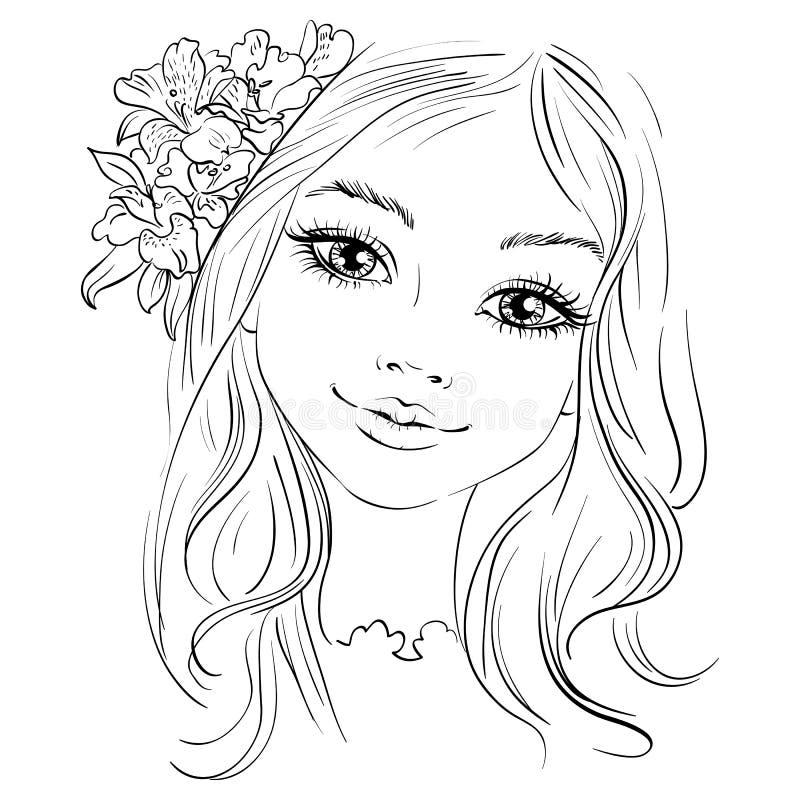 Vector la bella ragazza di modo con il fiore in capelli illustrazione di stock