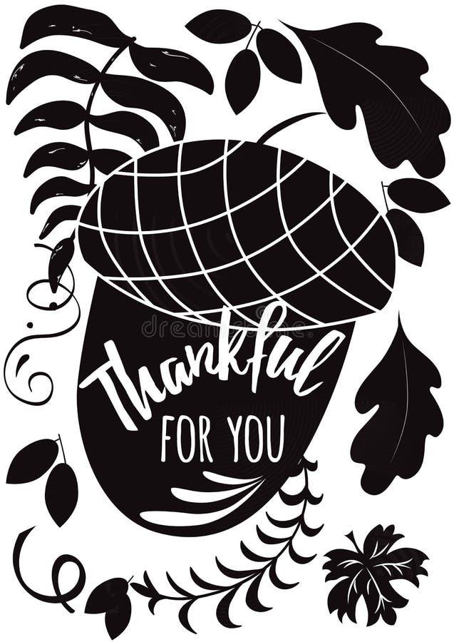 Vector la bellota negra dibujada mano n y la cita inspirada de la acción de gracias en la etiqueta blanca de la caída del fondo ilustración del vector