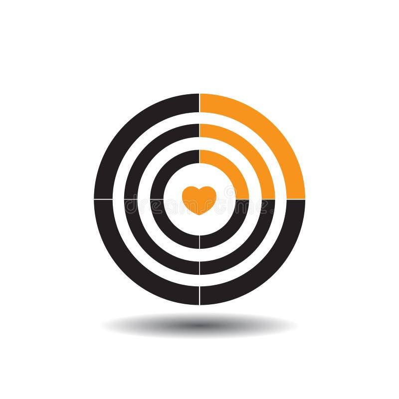 Vector la blanco con un corazón en el centro, la cuarta parte de un círculo negro pintado en la muestra anaranjada que representa ilustración del vector