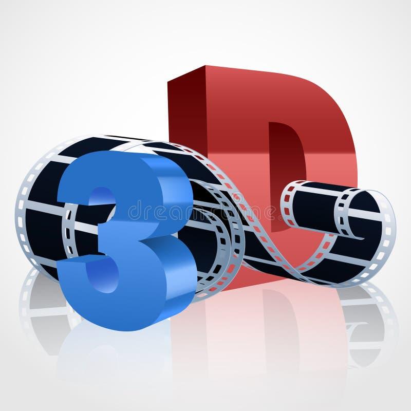 Vector la bobina di film realistica 3d con i simboli 3D illustrazione vettoriale