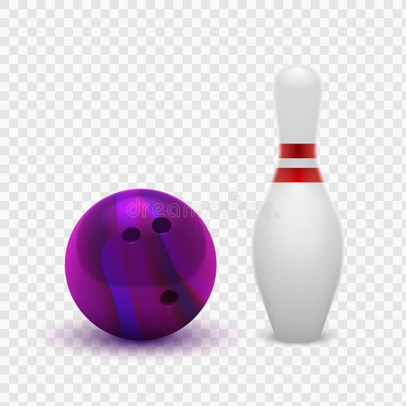 Vector la bola de bolos 3D del ejemplo y los bolos púrpuras realistas Aislado en un fondo a cuadros transparente Elemento del dis stock de ilustración