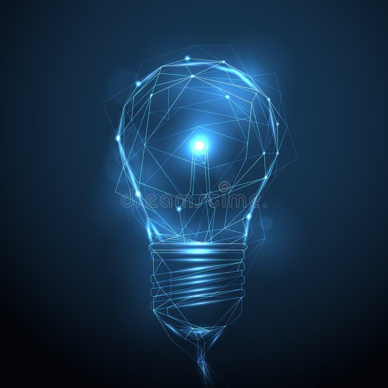 Vector la bombilla brillante del wireframe poligonal - innovación, tecnología libre illustration