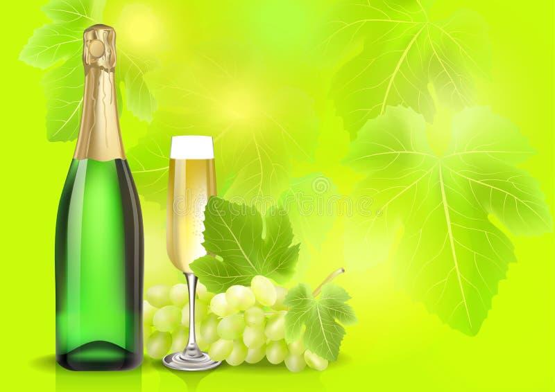 Vector la botella, el vidrio y la uva del champán en fondo de la falta de definición del verano Creado con las mallas de la pendi libre illustration