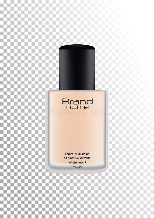 Vector la botella realista con la marca para los productos cosméticos, crema, fundación Botella mate transparente con una tapa ne libre illustration