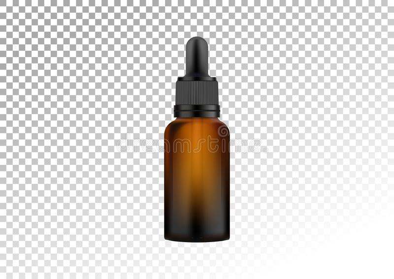 Vector la bottiglia di vetro scuro realistica con la pipetta per le gocce Fiale cosmetiche per olio, liquido essenziale, siero de illustrazione vettoriale
