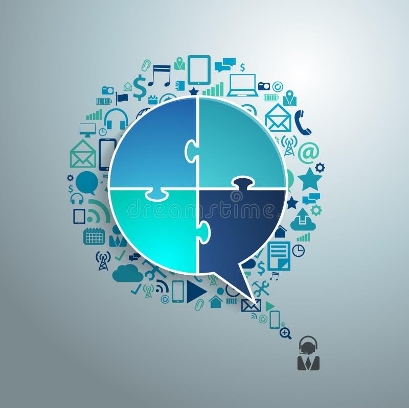 Vector la burbuja del discurso del negocio de la tecnología de los iconos del uso ilustración del vector
