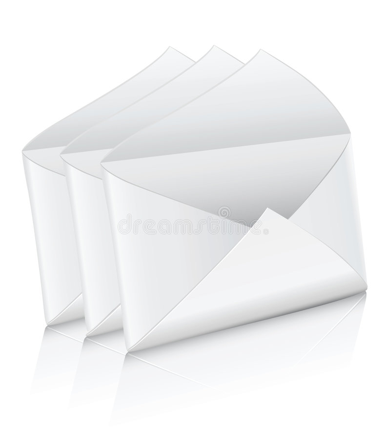 Vector la busta vuota bianca della posta dell'icona tre aperta illustrazione di stock