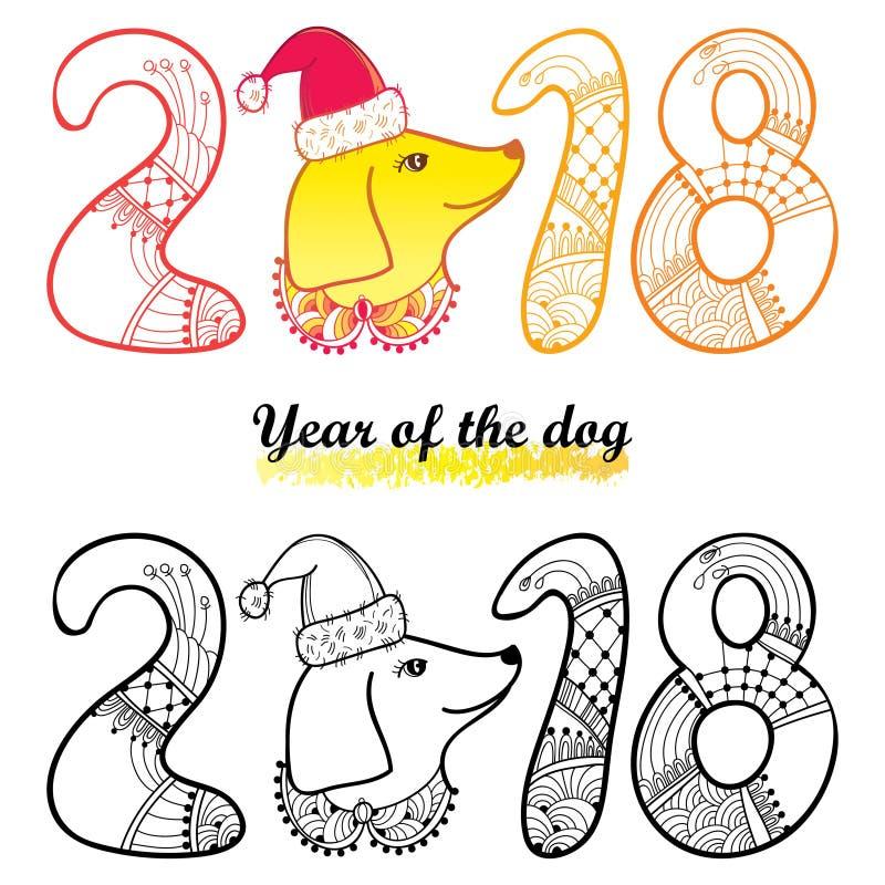 Vector la cabeza de perro del esquema en el sombrero de Papá Noel y numere 2018 en negro y amarillo aislada en el fondo blanco Sí stock de ilustración