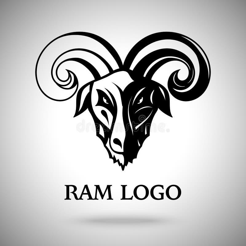 Vector la cabeza oscura de la cabra del espolón con los cuernos, la plantilla para el logotipo, la insignia, la etiqueta etc ilustración del vector