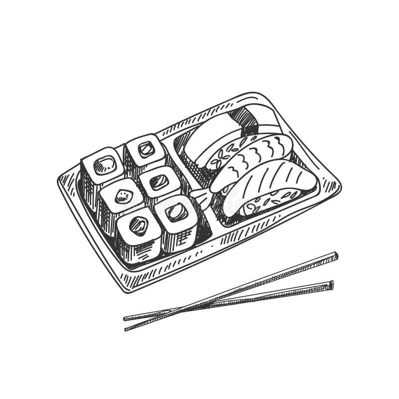 Vector la caja exhausta de la mano con el sushi y rueda el ejemplo libre illustration