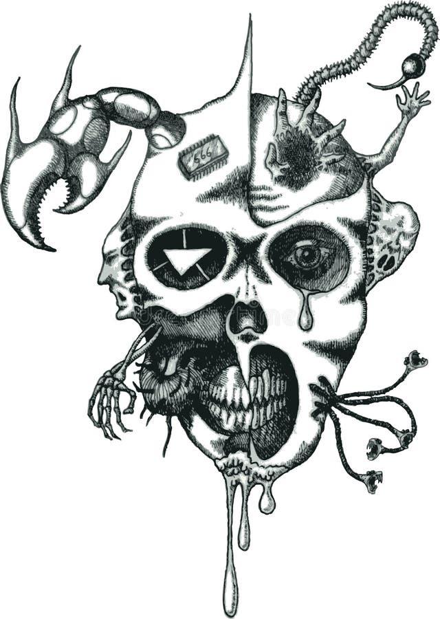 Vector la cara del demonio del tatuaje ilustración del vector
