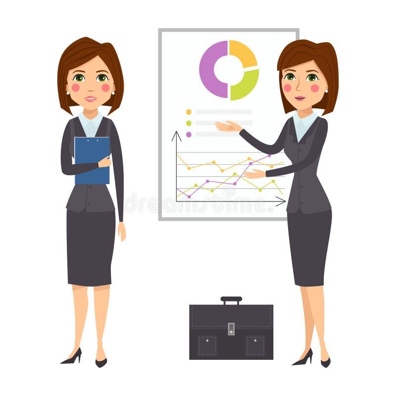 Vector la carrera adulta derecha de la oficina de la silueta del carácter de la mujer de negocios que presenta a la chica joven libre illustration