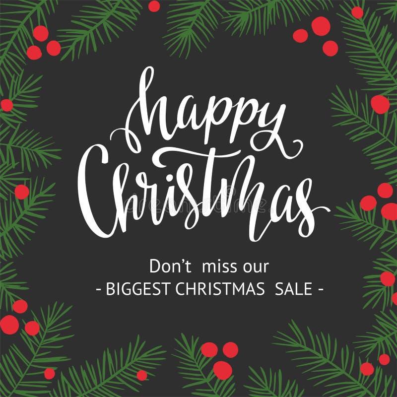 Vector la carta dell'inverno con i rami di Natale e il ` di Natale felice del ` dell'iscrizione Priorità bassa di festa Etichetta illustrazione di stock