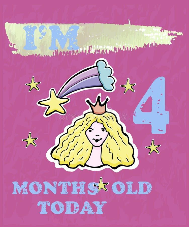 Vector la carta della pietra miliare del bambino per la ragazza o il ragazzo Sono quattro mesi royalty illustrazione gratis