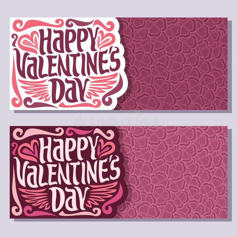 Vector la carta orizzontale per il giorno felice del ` s del biglietto di S. Valentino illustrazione di stock