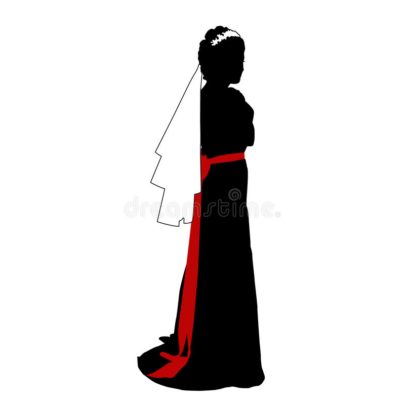 Vector la cartolina d'auguri con l'immagine di bella ragazza romantica sposa con una cinghia rossa royalty illustrazione gratis