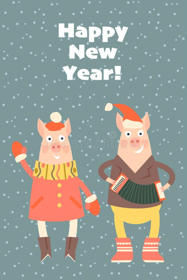 Vector la cartolina d'auguri del nuovo anno con le coppie dei maiali divertenti illustrazione di stock
