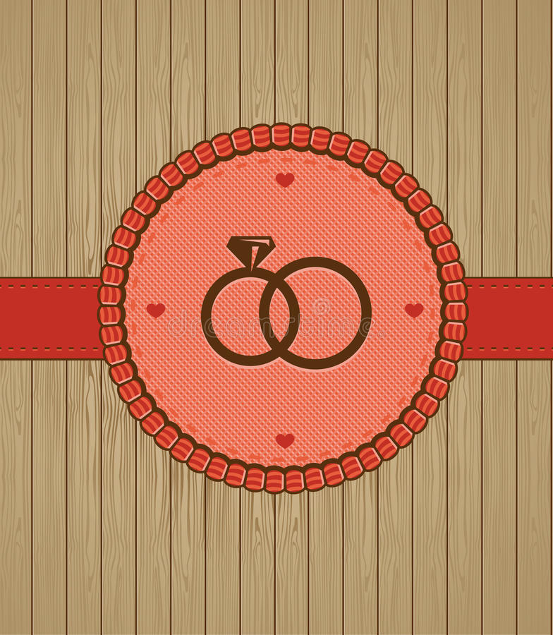 Vector la cartolina d'auguri dell'annata con gli anelli di cerimonia nuziale illustrazione di stock