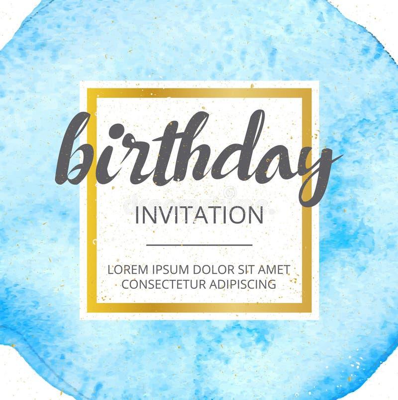 Vector la cartolina d'auguri dipinta a mano dell'acquerello - buon compleanno illustrazione vettoriale
