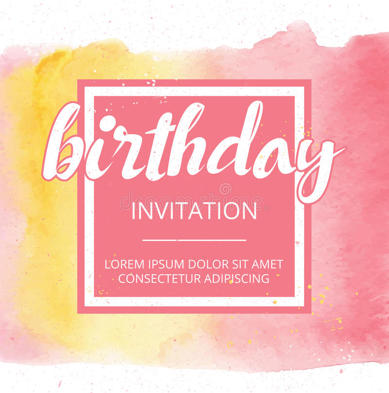 Vector la cartolina d'auguri dipinta a mano dell'acquerello - buon compleanno royalty illustrazione gratis