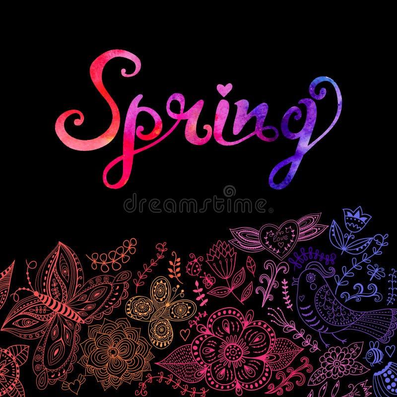 Vector la cartolina d'auguri floreale dell'acquerello con l'iscrizione della primavera royalty illustrazione gratis