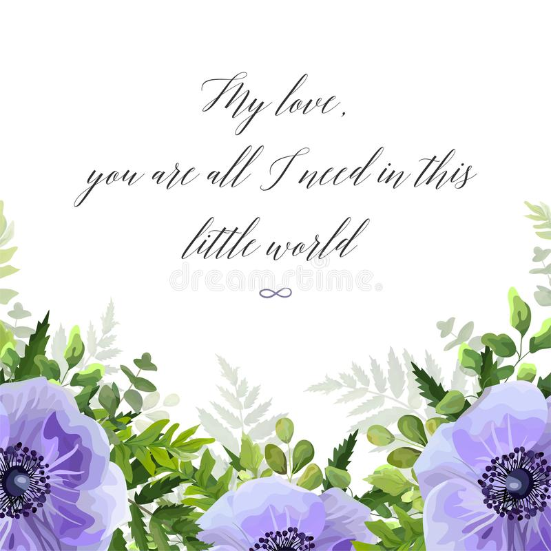 Vector la cartolina d'auguri floreale, progettazione della cartolina con l'acquerello ult illustrazione vettoriale
