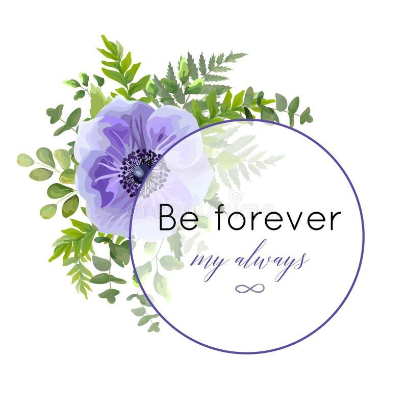 Vector la cartolina d'auguri floreale, progettazione della cartolina con l'acquerello ult illustrazione di stock